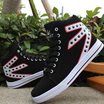 Stylish Rivets and Color Block Design Canvas Shoes For Men - WHITE WHITE