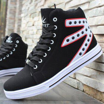 Stylish Rivets and Color Block Design Canvas Shoes For Men - 44 44