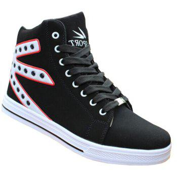 Stylish Rivets and Color Block Design Canvas Shoes For Men - WHITE 44