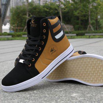 Color Block Leather High Top Sneakers - GOLDEN GOLDEN