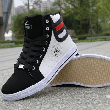 Color Block Leather High Top Sneakers - 41 41