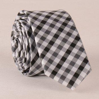 Stylish White and Black Tartan Pattern Men's Tie - WHITE AND BLACK WHITE/BLACK