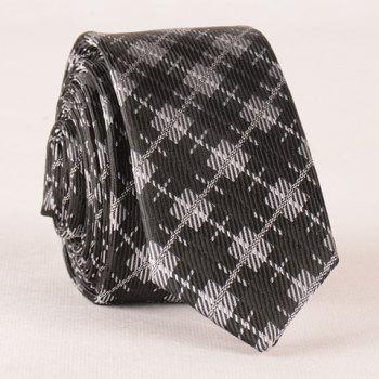 Stylish Plaid and Twill Pattern Men's Tie - SILVER AND BLACK SILVER/BLACK