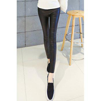 Women's Stylish Faux Leather Over Hip Stretchy Leggings