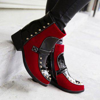 Trendy Suede and Patent Leather Design Boots For Women - RED 39
