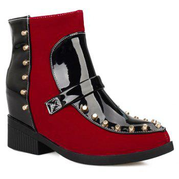 Trendy Suede and Patent Leather Design Boots For Women