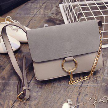 Elegant Suede and Chain Design Crossbody Bag For Women - GRAY