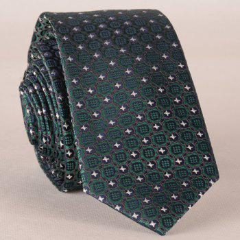 Stylish Fulled Embroidery Jacquard Green Men's Tie - BLACKISH GREEN BLACKISH GREEN