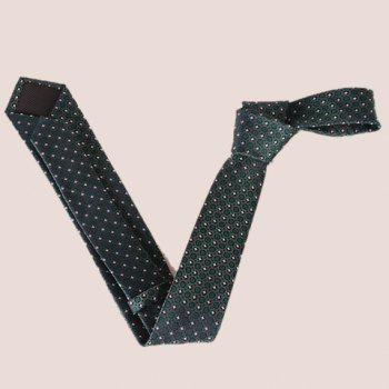 Stylish Fulled Embroidery Jacquard Green Men's Tie -  BLACKISH GREEN