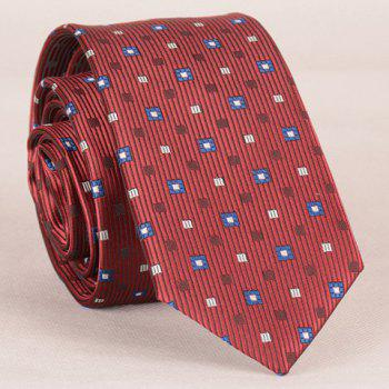 Stylish Lattice and Vertical Striped Pattern Men's Tie - WINE RED WINE RED