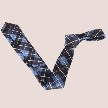 Stylish Striped Embroidery Tartan Jacquard Men's Tie -  CHECKED