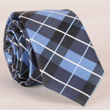 Stylish Striped Embroidery Tartan Jacquard Men's Tie - CHECKED CHECKED