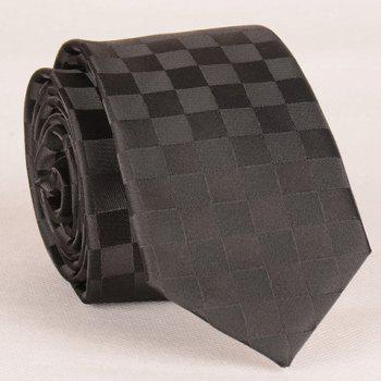 Stylish Checked Pattern Black Men's Tie - BLACK BLACK