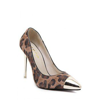 Sexy Leopard Print and Metallic Toe Design Women's Pumps - 36 36