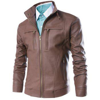 Slimming Stand Collar Fashion Fabric Splicing Zipper Design Long Sleeve Men's PU Leather Jacket