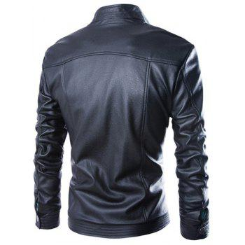 Slimming Stand Collar Fashion Fabric Splicing Zipper Design Long Sleeve Men's PU Leather Jacket - BLACK BLACK