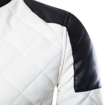 Slimming Stand Collar Trendy Color Block Rib Splicing Long Sleeve Men's PU Leather Jacket - WHITE L