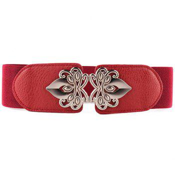 Chic Hollow Out Alloy and PU Embellished Solid Color Women's Elastic Waistband