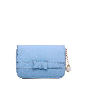 Sweet Faux Pearl and Zipper Design Women's Wallet - AZURE AZURE