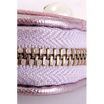 Sweet Faux Pearl and Zipper Design Women's Wallet -  AZURE