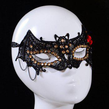 Chic Flower and Rhinestone Embellished Lace Halloween Party Mask For Women