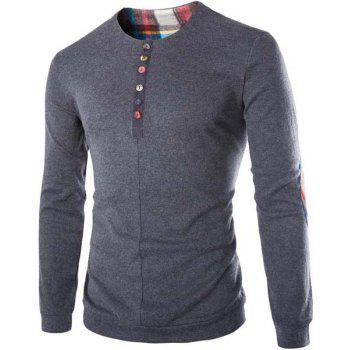 Slimming Round Neck Modish Buttons Design Patched Splicing Long Sleeve Woolen Blend Men's T-Shirt