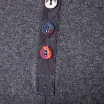 Slimming Round Neck Modish Buttons Design Patched Splicing Long Sleeve Woolen Blend Men's T-Shirt - M M