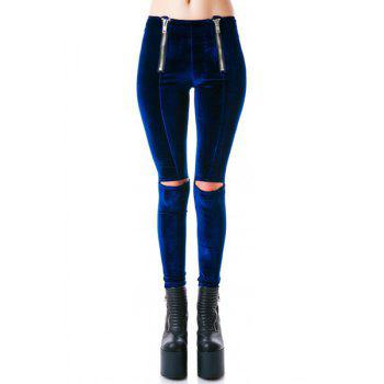 Punk High-Waisted Cut Out Zipper Design Women's Leggings