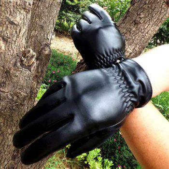 Pair of Stylish Solid Color Pleated PU Gloves For Men