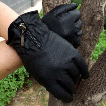 Pair of Stylish Zipper Embellished Solid Color Pleated PU Gloves For Men