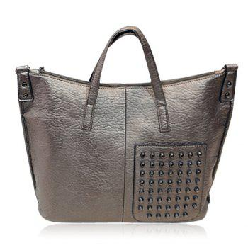 Stylish Solid Color and Studs Design Tote Bag For Women