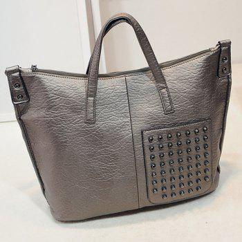 Stylish Solid Color and Studs Design Tote Bag For Women -  GOLDEN