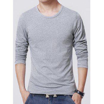 Slimming Round Neck Modish Solid Color Joker Long Sleeve Lycra Men's T-Shirt