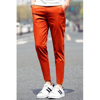 Zipper Fly Paisley Crimping Design Narrow Feet Nine Minutes of Pants For Men