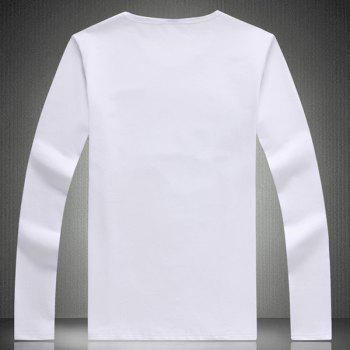 Stylish Round Neck 3D Chinese Ink Painting Long Sleeve Slimming Men's T-Shirt - WHITE 5XL