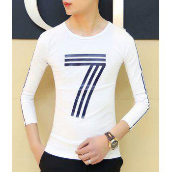 Trendy Slimming Round Neck Simple Number Print Long Sleeve Polyester T-Shirt For Men