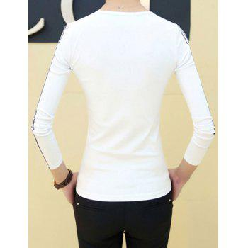 Slimming Round Neck Stylish Simple Number Print Long Sleeve Men's Polyester T-Shirt - WHITE 2XL