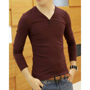 Stylish Slimming V-Neck Solid Color Button Design Long Sleeve Polyester T-Shirt For Men