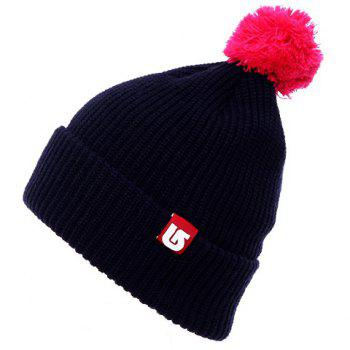 Chic Woolen Yarn Ball and Labelling Embellished Flanging Women's Knitted Beanie - RANDOM COLOR RANDOM COLOR