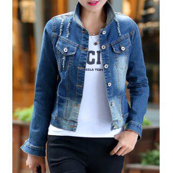 Fashionable Women's Shirt Collar Applique Destroy Wash Long Sleeve Denim Jacket