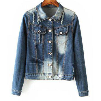 Fashionable Women's Shirt Collar Applique Destroy Wash Long Sleeve Denim Jacket - BLUE BLUE