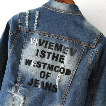 Fashionable Women's Shirt Collar Applique Destroy Wash Long Sleeve Denim Jacket - M M
