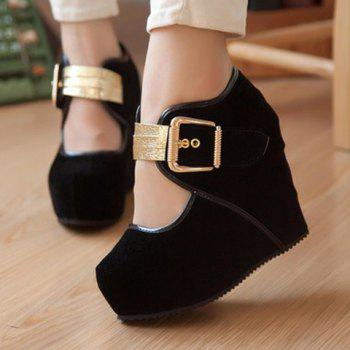 Sexy Metal and Buckle Design Wedge Shoes For Women - 37 37