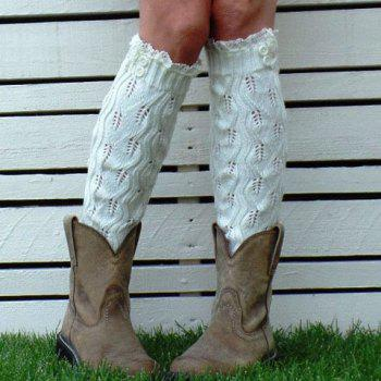 Pair of Chic Lace and Buttons Embellished Hollow Out Women's Knitted Leg Warmers -  RANDOM COLOR