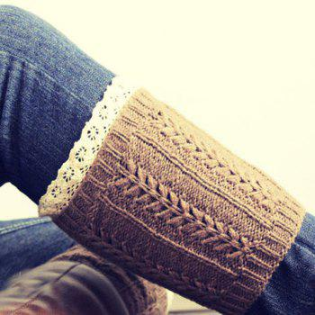 Pair of Chic Lace Edge Hemp Flower Jacquard Women's Knitted Boot Cuffs -  RANDOM COLOR