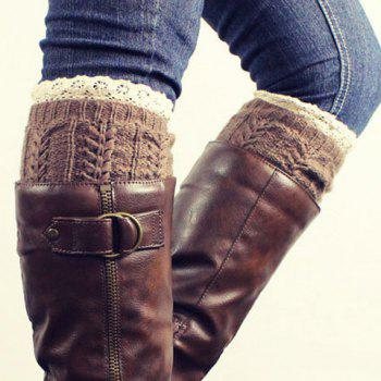 Pair of Chic Lace Edge Hemp Flower Jacquard Women's Knitted Boot Cuffs - RANDOM COLOR RANDOM COLOR
