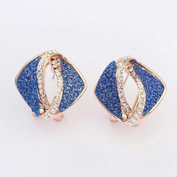Pair of Rhinestone Inlaid Hollow Out Earrings