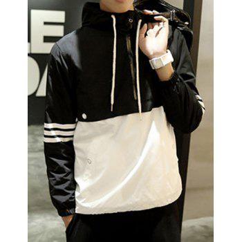 Fitted Hooded Trendy Stripe Print Two Color Splicing Long Sleeve Polyester Men's Jacket
