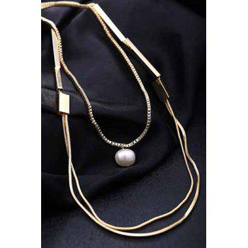 Stylish Chic Faux Pearl Layered Sweater Chain Necklace For Women - GOLDEN GOLDEN