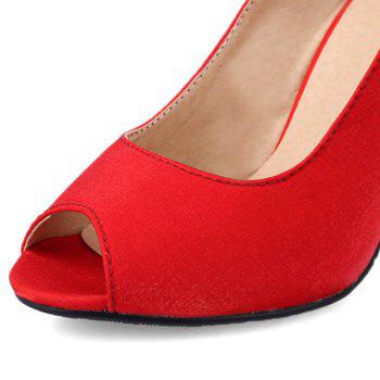 Elegant Stiletto Heel and Solid Colour Design Peep Toe Shoes For Women - RED RED